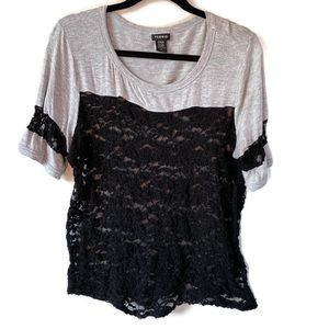 Torrid Lace Football Top Black/Gray L